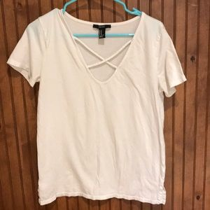 F21 White Caged Front Short Sleeve Tee